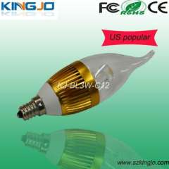 Gold plated led candle bulb with 3watt, E12 base