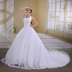 2012 autumn princess luxury dress halter-neck train lace wedding dress Free Shipping
