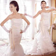 Royal 2013 new arrival of luxury royal flower lace tube top slim fish tail train bride wedding dress Free Shipping