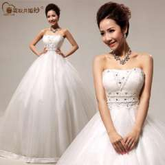 2013 bridal tube top bandage wedding dress exquisite lace sweet princess formal dress Free Shipping