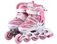 Adjustable In-Line Skates with Flash Light Sz S (Pink)