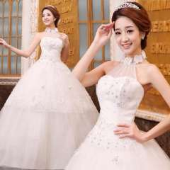 New arrival 2013 bride wedding formal dress fashion sweet princess style lace halter-neck cutout bandage