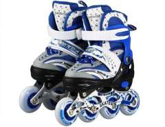 Adjustable In-Line Skates with Flash Light Sz S (Blue)