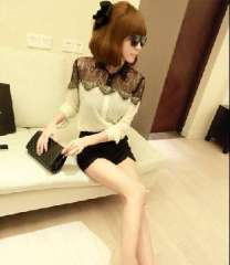 2013 Autumn new European style black lace long-sleeved chiffon shirt small fragrant wind | New Year's Eve celebration
