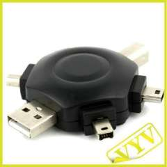 Plum-shaped USB + USB retractable cable