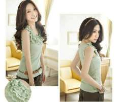 2012 new Korean version of the layers of lace shirt / three-tier lace vest - Green