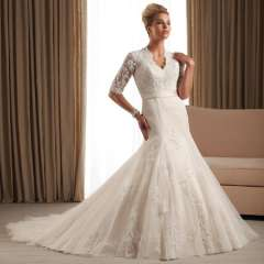 Long-sleeve wedding dress fashion quality V-neck wedding slim waist and fish tail of luxury train lace wedding dress slim hip