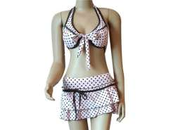 2002 2-Piece Women Fashion Neck Lacing Swimsuit (Pink)