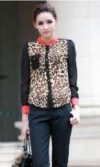 2013 new Korean stand-up collar shoulder pads red collar collision color chiffon leopard shirt Ms. long-sleeved shirt