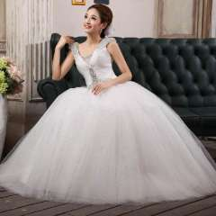 The bride wedding dress princess double-shoulder sweet spaghetti strap bling paillette fashion wedding dress Free Shipping