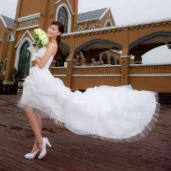 2013 princess bride wedding dress low-high tube top train formal dress Free Shipping