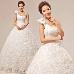 2013 wedding formal dress sweet princess bride exquisite flower one shoulder tube top wedding dress Free Shipping
