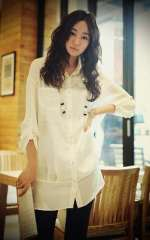 2012 new Korean version | casual long section of female white long-sleeved shirt halter | piece