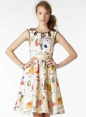 2013 Promotion Hot Sell Celebrity Brand High Waist Hollow Out Sleeveless Cute Lovely Cartoon Printed Women Party Dress 67-1