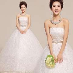2013 tube top sparkling diamond flower brief puff skirt the bride married Free Shipping