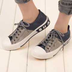 Seoul sent one hundred million | to help low flat | color stitching canvas shoes Korean students | shoes | tide | casual shoes shoes | on behalf of