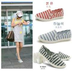 Summer Korean version of the stripes lazy shoes a pedal shallow mouth to help low canvas shoes shoes flat shoes student shoes single shoes