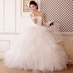 2013 tube top bandage wedding dress sweet princess luxury paillette bride dress Free Shipping