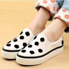 Star | spring new Korean wave of dot canvas shoes women shoes a pedal sets foot lazy | a generation of fat