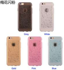 Hot Sell Flower Pattern Bling TPU Case for iPhone 6