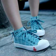 2013 canvas shoes female Korean high-top shoes lace lattice candy color shoes to help students shoes w063