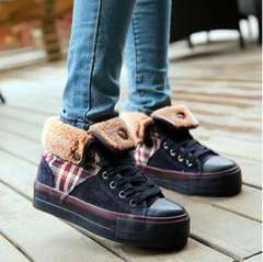 2013 new matte leather shoes flat canvas high-top shoes, casual shoes tide wild super soft plush