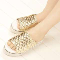 Wholesale 2013 Summer Korean version of the slope with elastic female cool slippers thick crust muffin slippers shiny lattice embroidery word