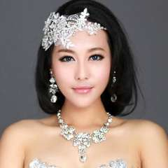 The bride hair accessory hair accessory necklace set handmade lace rhinestone marriage accessories