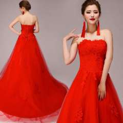 Red tube top lace bridal formal dress toast wedding photography trailing dress short strap wedding dress