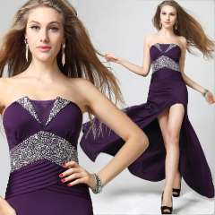 Deep purple tube top long design evening dress sexy high vent fashion slim tube top evening dress skirt
