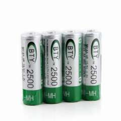 BTY rechargeable battery AA 1.2V 2500MAH 4 granulocyte row