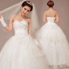 Tube top lace bridal strap puff skirt wedding dress wedding dress