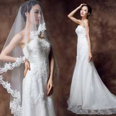 2012 winter princess wedding dress train fish tail lace strap tube top embroidered Free Shipping