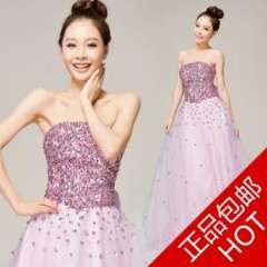 The bride wedding dress long design fashion tube top sparkling diamond slim waist formal dress dinner party purple formal dress