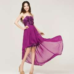 2013 bride and bridesmaids married short design purplish red tube top low-high formal dress Free Shipping