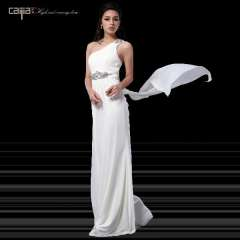One shoulder white slim formal dress annual meeting toadyisms company of formal dress