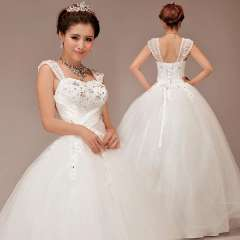 2013 V-neck luxury sweet lace flower double-shoulder train wedding dress bandage
