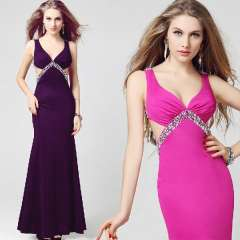 V-neck Women sexy full dress racerback vest style sleeveless fish tail slim banquet dress