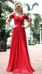 2013 long design red one shoulder princess bride evening dress 919 height Free Shipping