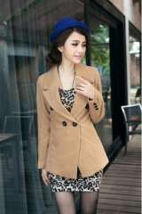 In paragraph breasted woolen coat jacket | colors