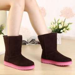 The new hair color stitching mouth cuff tendon at the end snow boots low tube boots thick snow female factory direct wholesale