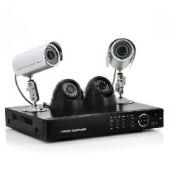 4 Channel DVR System - 2 Indoor + 2 Outdoor Cameras, 700tvl, 500GB HDD, H. 264
