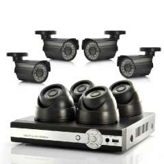 8 Camera Surveillance System - 4 Indoor CCTV Cameras, 4 Outdoor, H264 DVR