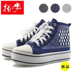 Fall 2013 new shoes | Korean version of high-top heavy-bottomed muffin Crystal Rivet canvas shoes | yuh step injection shoes