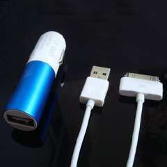 Apple iphone 4 / 4S IPAD 1/2/3 USB2.0 Lipstick car charger + data cable | blue and white