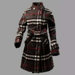 2012 autumn and winter long section | Ms. checkered double-breasted wool coat | collar coat jacket M / L / XL / XXL
