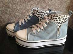 Fall 2013 new sneakers girl Korean version flows high help shoes small Leopard-print wash denim 6818