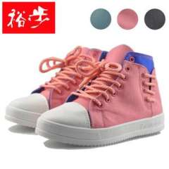 2013 new shoes | Korean version of high-top color stitching side lace women canvas shoes | Yu genuine step tide shoes