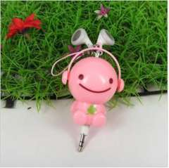 The new second-generation | 3.5毫米Q version of the cartoon automatic retractable headphones | Pink Sunny Doll