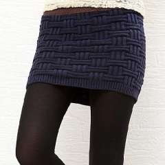Women explosion models plaid wool knit skirt package hip | thin skirt | Safe autumn to spring - deep blue